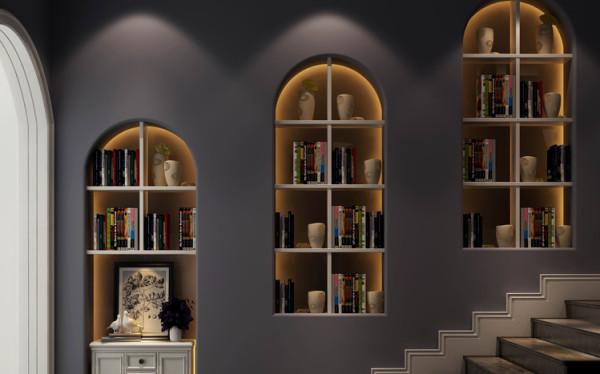 在过道处做出体现业主想法的书柜,是整个户型的一个亮点,通过这个过道的改动,使得整个过道有活力。