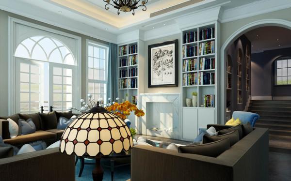 暖色的墙面漆结合白色的书柜和门及门套