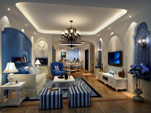 白色和蓝色是两个主打,最好还要有造型别致的拱廊和细细小小的石砾。在打造地中海风格的家居时,配色是一个主要的方面,要给人一种阳光而自然的感觉。