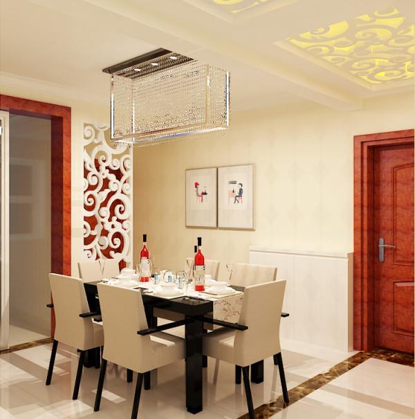 餐厅在增大储物空间的基础上,将餐桌居中摆放,四周为行动路线,将客卫的干区打掉,采用雕花隔断,增加了餐厅的通透行,将空间从视觉上放大;