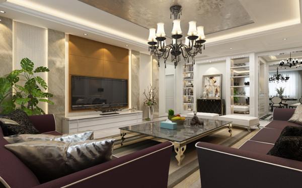 电视背景墙以竖条的框架为基础,将壁纸、石材、硬包等不同属性的材料进行搭配,通过色彩和质感的准确把控,带给客厅奢华的质感