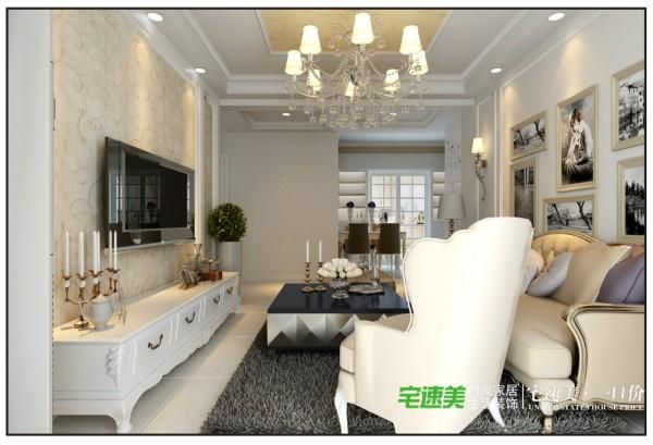 华强城美加印象三室一厅128平欧式风格装修效果图 By宅速美装饰