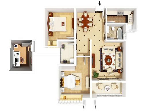 和昌湾景国际B-2户型两室两厅87平方户型图