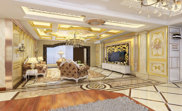 精致的装饰,拼花的地砖,高档石材的墙面助理,大气的造型都显现出奢华的装饰效果。客厅吊顶异性的造型更是糅合了整体空间感。