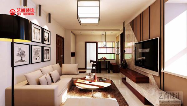 锦艺国际华都三期客厅装修效果图-本案色彩搭配采用浅咖色主题色调,搭配深色木制品和灰色石材,宛如一杯暖暖的卡布奇诺,沁人心脾。