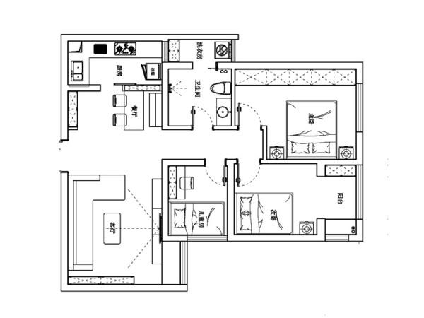 锦艺国际华都B2户型三室两厅89平方平面布局图-艺尚装饰