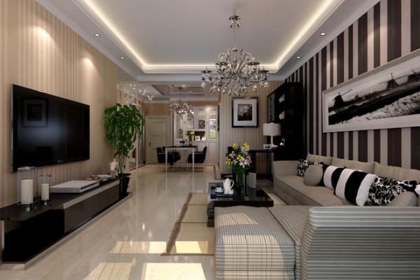 本案例为简欧风格,经典的水晶灯、欧式沙发,背景墙上的欧式挂画,无不展现出欧式奢华的情调。 吊顶上的图案加上窗户的造型,丰富了空间的层次感和美感。
