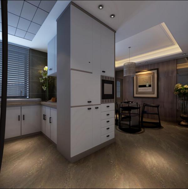 餐厅边柜直接穿入厨房,辅以清透的夹纱玻璃分界内外,不形成视觉上的滞碍点。打开厨房的封闭格局,不仅扩充实用功能,亦大幅汲取落地窗的日光。