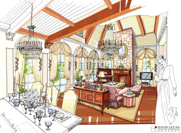 欧美风格别墅奢华风格温馨80后小资收纳客厅装修效果