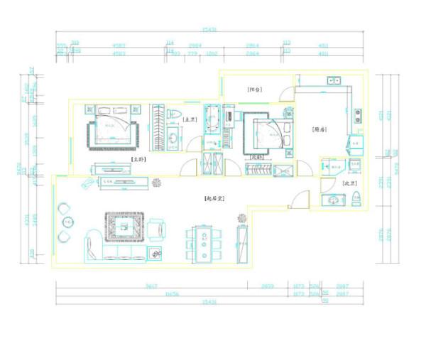 SOHO现代城109平米户型平面布置图展示
