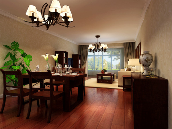 有色金属研究院三居室户型客厅效果图