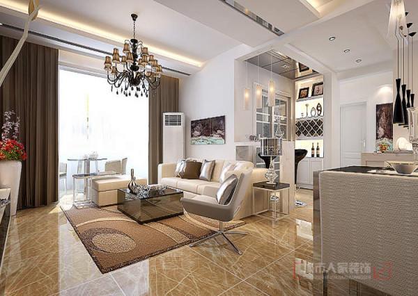 客厅区域采用了冷材料瓷砖、大理石,顶面处理中,因为吊顶主要强调空间的独立性,所以点到为止。
