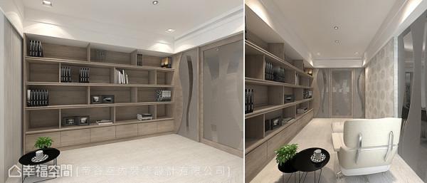书房中采用零甲醛系统板材规划书柜,并加大层板厚度,增加支撑力。 (此为3D合成示意图)