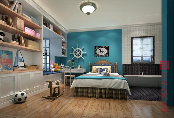 【儿童房】海洋蓝的床头背景墙搭配螺旋桨的装饰摆件,呈现一股轻盈凉爽的视觉体验。木质地板与玩具摆件的组合恰如其分的说明了主人天真顽劣的个性。彩。