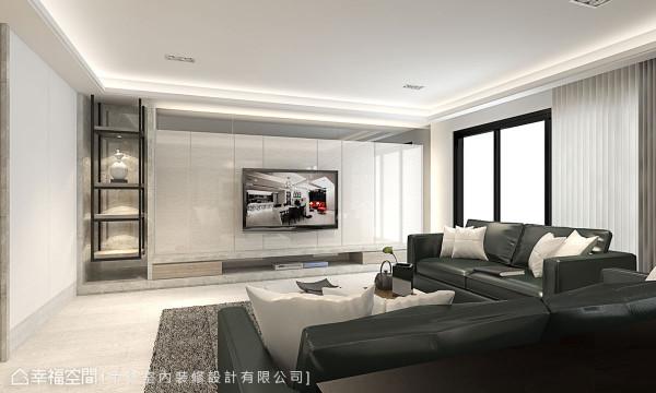 采抗菌板铺饰的电视墙旁佐以铁件层架,兼具健康与造型,另运用充裕面宽规划隐藏式储藏室,收纳居家大型电器设备。 (此为3D合成示意图)