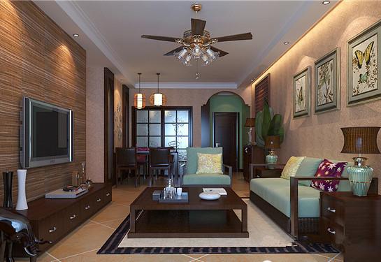 客厅全景。西南桦木打造、简约线条勾画的电视柜、茶几、沙发和地柜,带有一种深沉厚重感。沙发上方已用简单装饰画布置,故电视墙就留空,让视觉更加舒适。