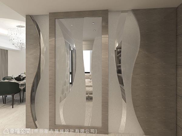 曲度流畅的夹纱造型,在门片滑移间变换截然不同的框景视野。 (此为3D合成示意图)