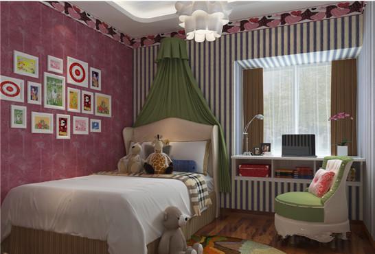 儿童房,颜色搭配充满梦幻色彩,卡通玩具及照片墙让空间童趣十足,窗台即书桌的设计,让儿童更多的接触大自然。