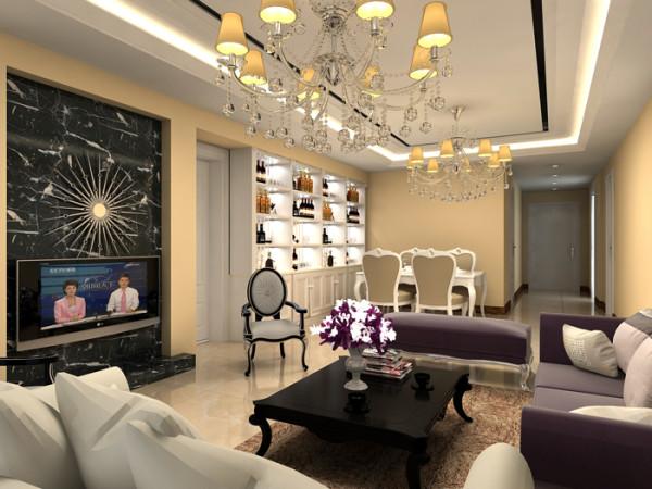 soho现代城三居室(146平)欧式风格客厅效果图展示