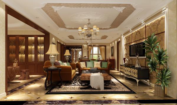 多处运用石材及软包,增添居所的奢华感。且茶色镜面的运用,使整体屋室视觉上显得更加拉伸。