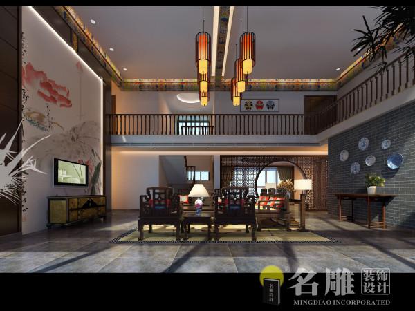 现代中式别墅客厅