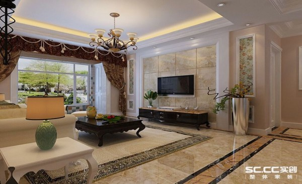 客厅设计: 电视背景墙采用木质和石材结合的设计手法,材质上更加丰富,视觉效果更好。大理石上墙凸显主人高雅的生活品味。