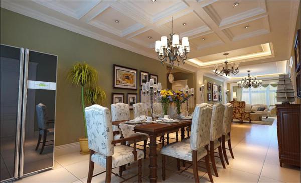 餐厅设计: 淡雅的色彩柔和的光线,华贵的线脚加上精致的餐具,渲染体会异国餐饮情调。