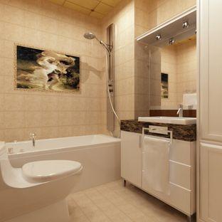 卫生间中浴室柜用了特殊面板,耐腐蚀,耐泡水
