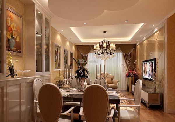 客厅用微晶石的墙砖做底,营造了奢华感,餐厅用橱柜做了收纳功能,节省空间同时不失美观