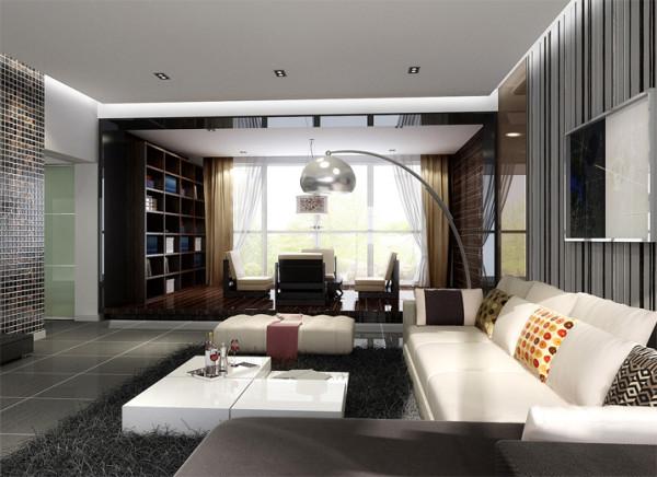 整体选用了灰色地砖,黑白条相间的壁纸与电视墙的马赛克相呼应。