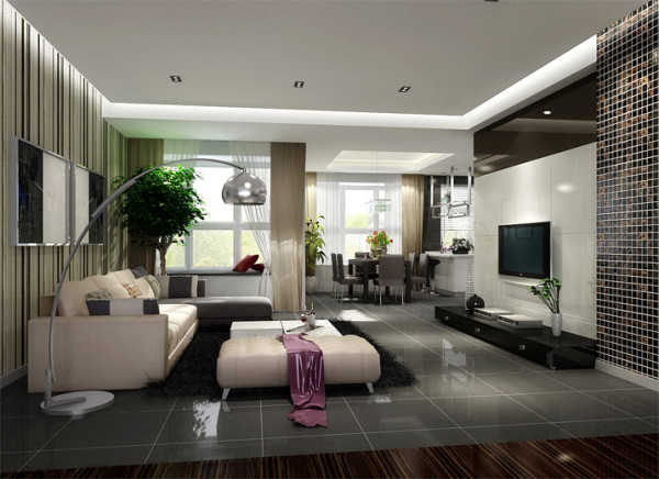 设计理念:整个空间以灰白黑为主。客厅及餐厅采用吊顶设计划分空间并且使空间层次感增强,在电视墙设计中加入了黑色烤漆玻璃及马赛克,增加空间现代感。由于户型本身客厅区域过大,故设计了休闲地台。
