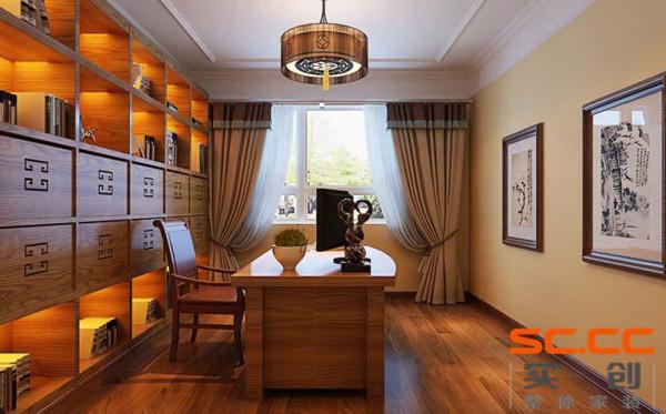 书房是是吟诗作画、读书写字的场所。要求品位很高,工艺上更是精益求精,使书房内塑造一个古朴而高雅的情调。陈设精致,注重简洁、明净。书房中间放一张大书桌,桌案上置文房四宝。