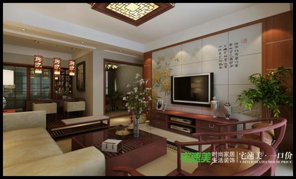 电视背景墙花色图案很有中式朴素的质感。