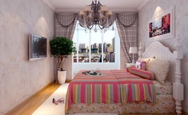 卧室设计: 主卧室整个空间和谐统一,格局简洁明亮。床头后面的抽象画在灯光的映衬下独显经典。装饰画,家具,地毯采用同一色系相互呼应,色彩显得干净又统一