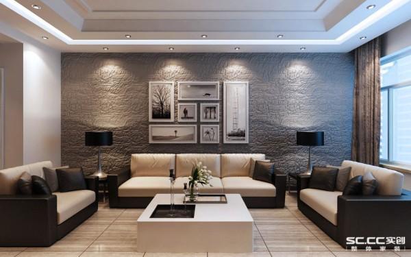 沙发背景墙设计: 现代简约风格,符合整体设计感,凹凸不平的墙面给人放松的感觉