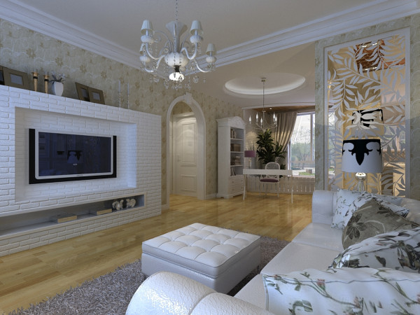 作为与餐厅连通的客厅,客厅的面积较大,通过对客厅门厅空间的改变使空间更合理更富有空间变化。根据客户的性格和喜好,