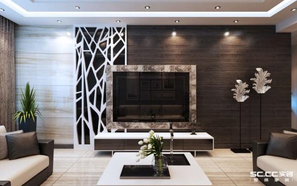电视背景墙设计: 从细节处能看出设计的合理性,科学性、新颖性和整体搭配效果。以深色为主传递出宁静深邃