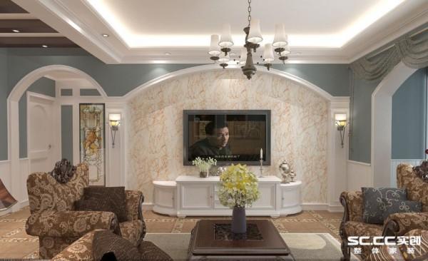 电视背景墙设计: 没有任何的花哨装饰,地窗上有轻柔的纱幔,将那凡世的喧嚣抵挡在外,给人的感觉是那样的宁静动人,也让客厅增添了大气感,营造出一个朴实之中的时尚简欧家居设计。