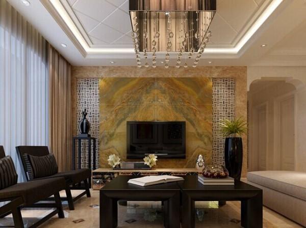 石材铺贴的电视墙大气十足配上拼花的大地砖整洁大方
