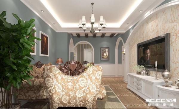 客厅设计: 欧式客厅非常需要用家具和软装饰来营造整体效果。深色的橡木或枫木家具,色彩鲜艳的布艺沙发,都是欧式客厅里的主角