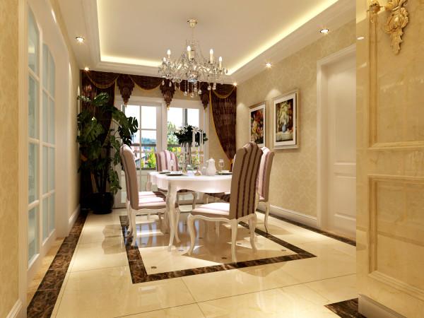 餐厅。用同样的手法,地面则用一圈深色的瓷砖圈定区域,视觉上空间尺寸更合适!