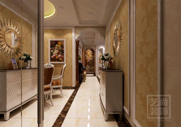锦艺国际华都三期入户玄关及过道吊顶设计,镜子的添加满足居住要求,还让玄关视觉上增大平方。