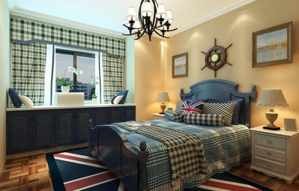 soho现代城(114平)地中海风格案例卧室效果图展示