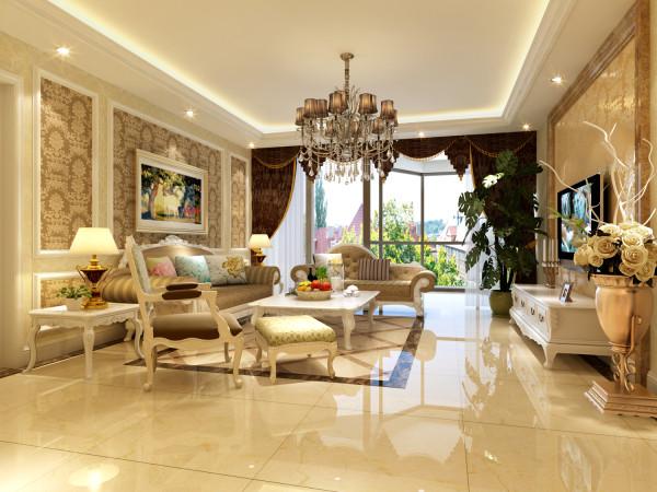 很有代表性的简欧风格。较少的墙面家具颜色看起来是一个完整的整体,深色的窗帘把空间的分隔开。