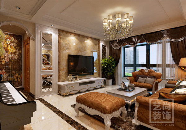 锦艺国际华都三期122平方客厅电视背景墙装修效果图,大理石做造型,硬气。