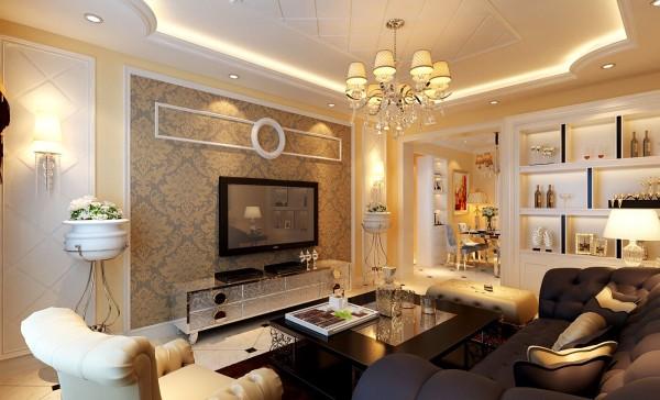 电视背景墙设计: 设计理念:空间看起来赋予韵律感且大方典雅,温暖的灯光为整个空间带来了柔美的气质,给人以开放、宽容的非凡气度,整体营造出一种华丽、高贵、温馨的感觉。