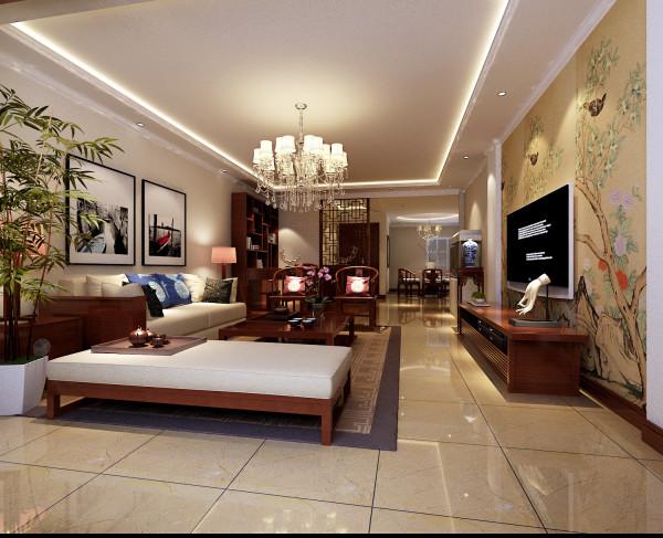 本案在硬装设计方面简洁大气,主要是通过中式家具以及后期软装配饰来体现家居风格。