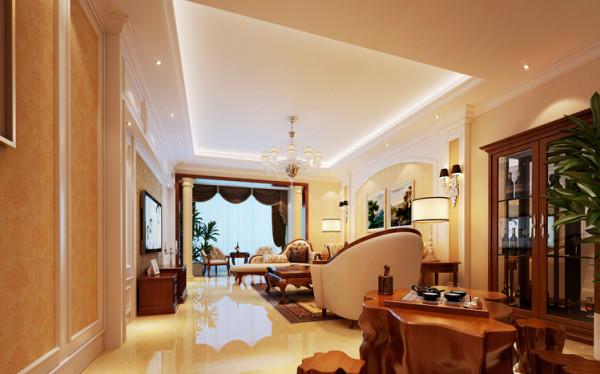 吊顶设计: 设计理念:拐角处的空间得以最大利用,打造出独立于客厅的一个小小休闲区。亮点:同一色系的中式茶台搭配酒柜,混搭出新颖时尚感。