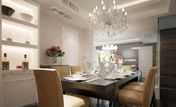 餐厅部分和客厅部分存在着延伸的纵深感,设计难点在于和开敞式的空间结合处的造型过度,地面仍以黑棕色为主色调,吊顶线性造型与客厅顶相互交错,层次分明、装饰酒柜代替了餐边柜的角色起到了收纳和美化的效果。