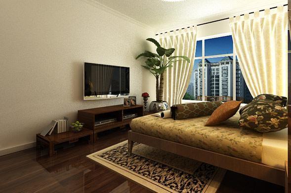 房间的整体风格都比较简约,卧室也不例外,简单的电视柜,床,没有多余的垂地床单,也没有多余的壁画。